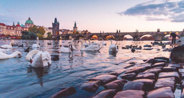 Карлов мост и река Влтаву в Праге на закате