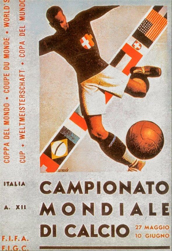 Плакат Чемпионата мира по футболу 1934 года в Италии, фото rbc.ru