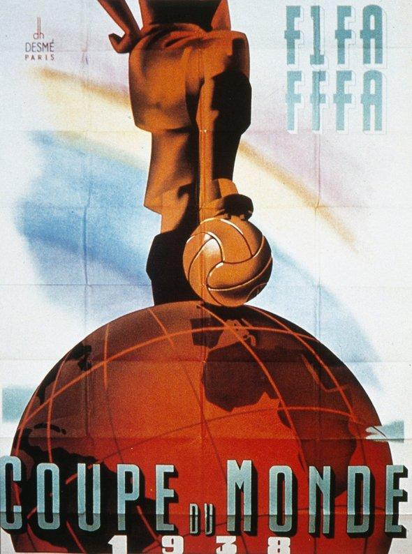 Плакат Чемпионата мира по футболу 1938 года во Франции, фото rbc.ru