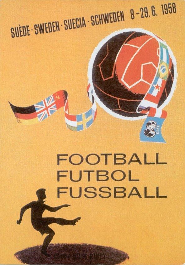 Плакат Чемпионата мира по футболу 1958 года в Швеции, фото rbc.ru