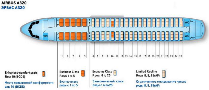 Схема мест салона Airbus A320